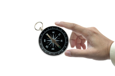 Classic compass in business hand on white background. Stock Photo - 13254604