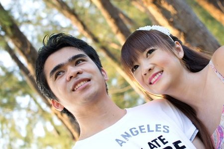 Asian couple with pre wedding sceen out door bckground. Stock Photo - 13371355