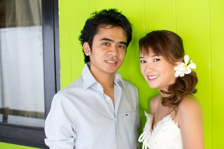 prewedding: Asian couple with pre wedding sceen out door bckground.