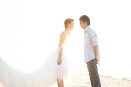 Asian couple with pre wedding sceen out door bckground. Stock Photo - 13370920