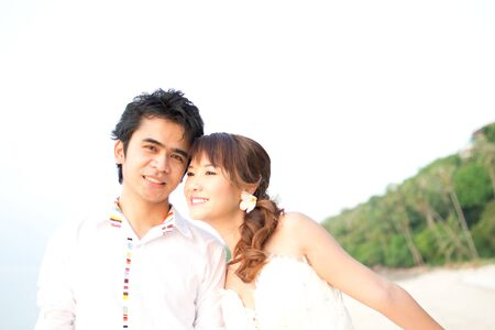 Asian couple with pre wedding sceen out door bckground. Stock Photo - 13370928