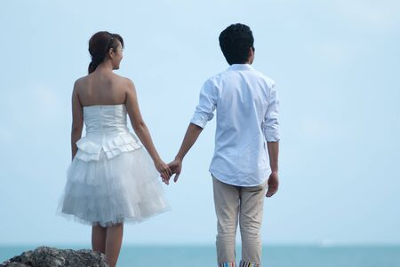 Asian couple with pre wedding sceen out door bckground. Stock Photo - 13370941