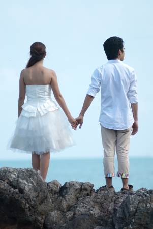 Asian couple with pre wedding sceen out door bckground. Stock Photo - 13371105