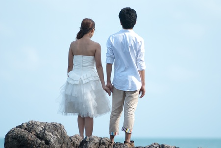Asian couple with pre wedding sceen out door bckground. Stock Photo - 13370953