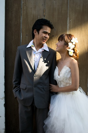 prewedding: Asian couple with pre wedding scene out door background.