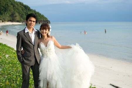 Asian couple with pre wedding scene out door background. Stock Photo - 13371680