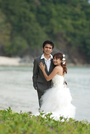 Asian couple with pre wedding scene out door background. Stock Photo - 13371570