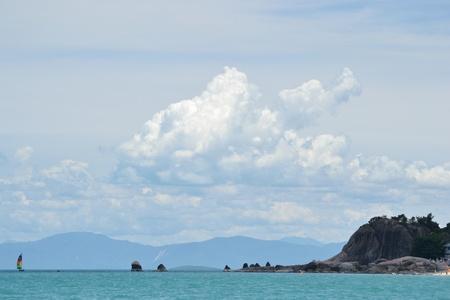 Seascape with nice form of cloud and the island,ko samui thailand. photo