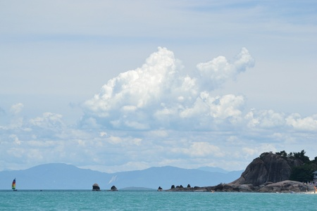 Seascape with nice form of cloud and the island,ko samui thailand. photo