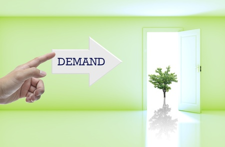 Business concept with wording on right arrow in blank room with open door. photo