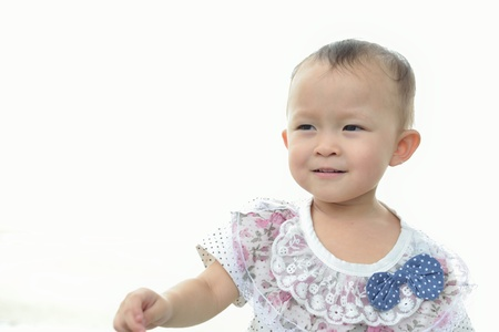 Young asian girl portrait with white shirt. photo