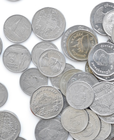 Stack of thai coin on white background.