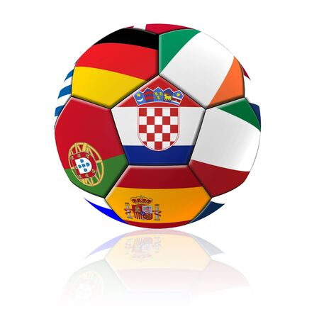 b ball: A football artwork with european flag with reflection on white background.