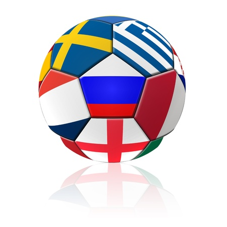 A football artwork with european flag with reflection on white background. Stock Photo - 13922242