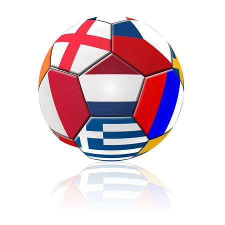 A football artwork with european flag with reflection on white background. photo