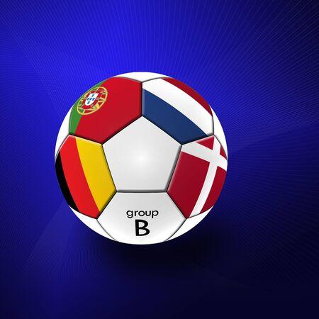 Football artwork european team on blue abstract background. photo