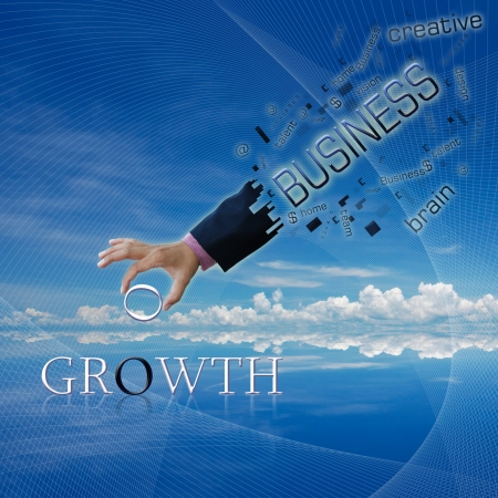 art work of business hand with the business word with modern background. photo