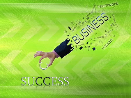 art work of business hand with wording with modern abstract background. photo