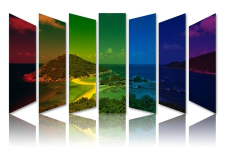 Art work of abstract rainbow color of landscape picture with reflection . photo
