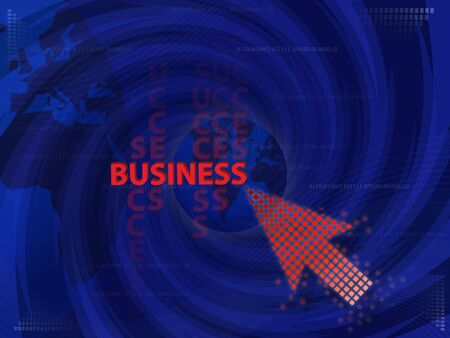 Art work of business Idea with touching virtual screen by red arrow graphic with modern spiral blue background. photo