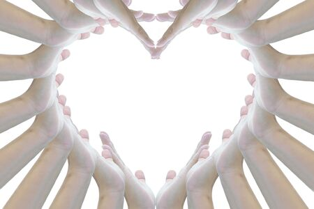 Heart sign from woman hand on texture background. photo