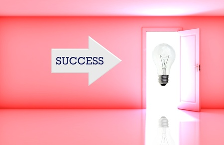 Business concept with wording on right arrow in blank room with open door. Stock Photo - 14042326