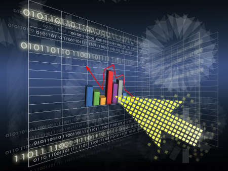 raise: business education by perspective line with raise graph on modern style abstract background.