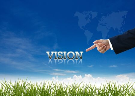 Attractive artwork of business wording on clear sky background with businessmans hand. photo