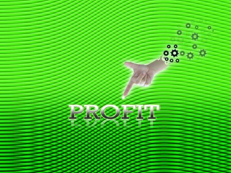 art work of business hand with wording with modern green curve line abstract background. photo