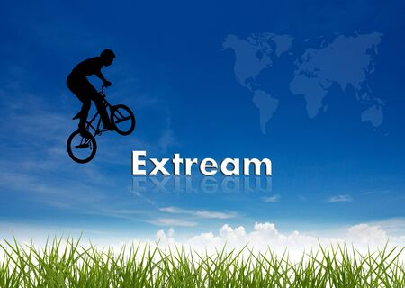 bmx rider jumping over business wording on nature background. photo