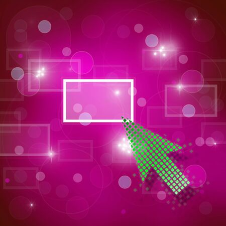 Green arrow selecting business icon on medern pink abstract background. photo