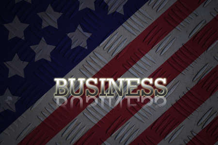 Hand selecting business icon on united state of america nation flag abstract background. photo