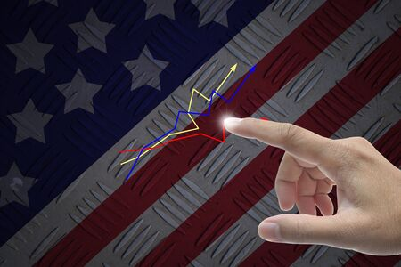 Hand selecting business icon on united state of america nation flag abstract background. Stock Photo - 14466064
