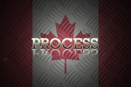 business wording with reflection on old canada flag background. photo