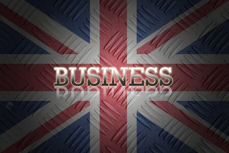 business wording with reflection on old english flag background. photo