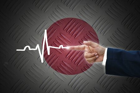 business hand selecting business icon on old Japan  flag background. photo