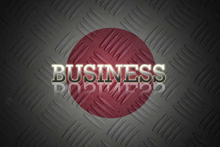 business wording with reflection on old japan flag background. photo