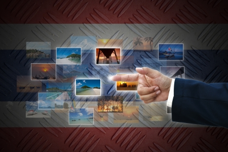 business hand selecting business icon on old Thailand  flag background. photo