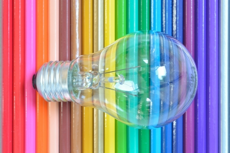 Close up of retro classic light bulb color pencil background. Stock Photo - 14868556