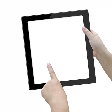Modern big screen tablet computer in lady hand on white background. photo