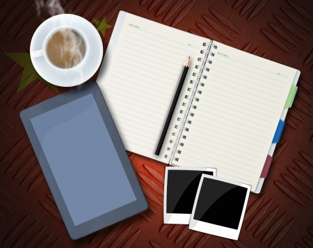 Office objects , notepad, tablet computer, photo frames, coffee cup on background. Stock Photo - 15506803