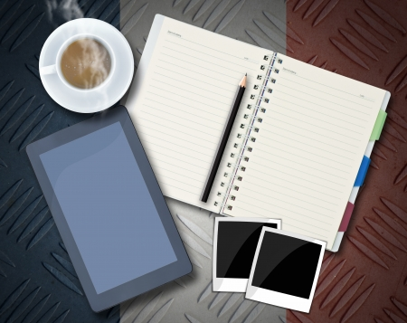 Office objects , notepad, tablet computer, photo frames, coffee cup on background. photo