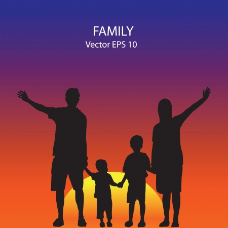 silhouette of family on the beach at dusk. Vector