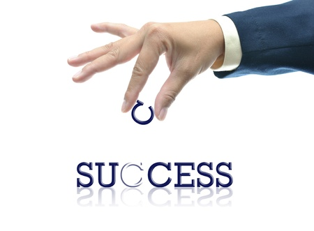 art work of business hand with the word. Stock Photo