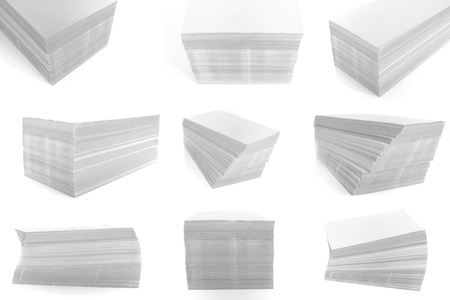 stack of paper on the white background. photo
