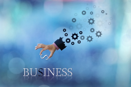 art work of business hand with wording with blue abstract background   photo