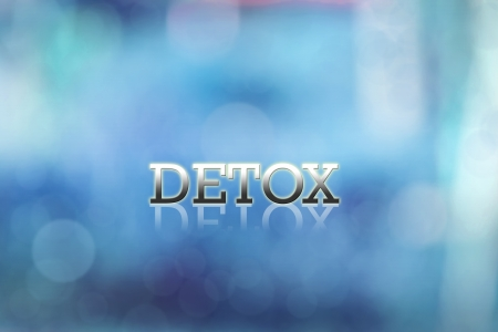 detox: Attractive artwork of business wording on blue abstract  background.