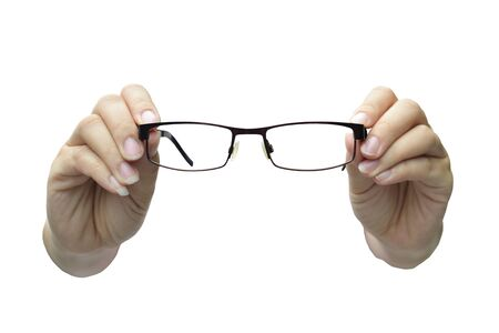 vision concepts by clear view eye glasses with out of focus background. photo