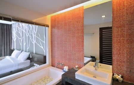 Luxury bathroom interior design for modern life style. photo