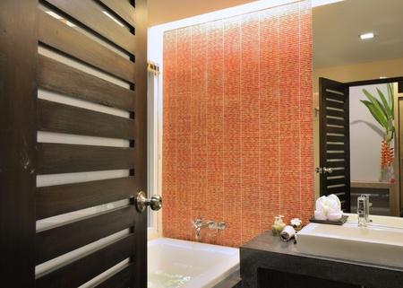 Luxury bathroom interior design for modern life style. photo
